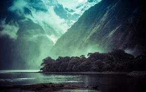 clouds, fjord, landscape, New Zealand, trees, mountain