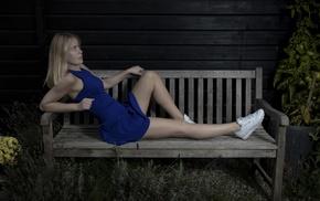 blonde, model, bench, girl