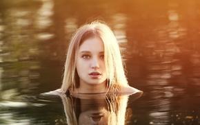 swimming, girl, blonde, model, girl outdoors, water