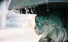 umbrella, water, statue