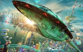 3D, Rocket, realistic, spaceship, city, futuristic
