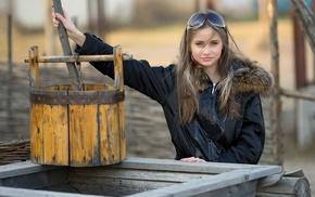 wood, Anya, model, fur, long hair, girl outdoors