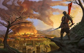 sword, samurai, artwork, fantasy art, fire, city