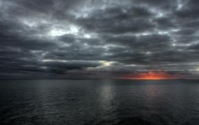 sea, clouds