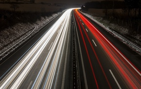 traffic lights, light trails, highway, long exposure