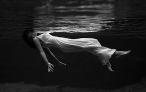 girl, underwater, monochrome, Lana Del Rey, white clothing