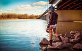 girl, rock, tattoos, boots, underwear, river