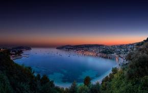 sea, cityscape, landscape, nature, sunset, trees
