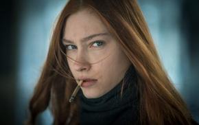 girl, face, portrait, smoking