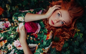 looking at viewer, redhead, flowers, girl outdoors, curly hair, freckles