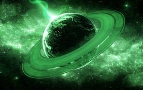 planet, glowing, galaxy, universe, rings, digital art