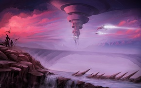 futuristic, spaceship, aircraft, waterfall, fantasy art, river