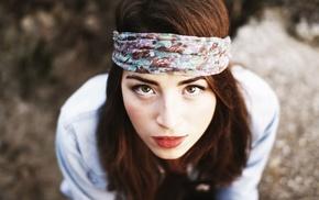 red lipstick, headband, girl, looking up, redhead