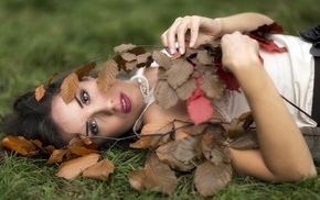 nature, bare shoulders, open mouth, girl outdoors, leaves, fall