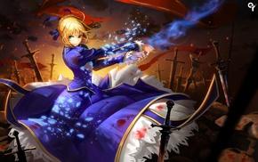 Fate Series, blonde, anime girls, green eyes, anime, Saber