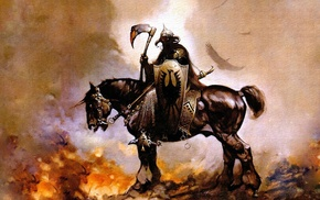 painting, Frank Frazetta, Death Dealer, fantasy art, comics