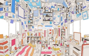 room, upside down, bed, anime girls