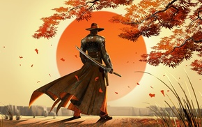 Japan, artwork, fantasy art, cowboys, samurai