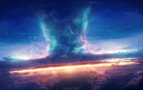 fantasy art, sunset, clouds, artwork