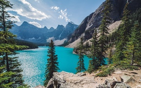 nature, summer, Canada, water, Moraine Lake, mountain