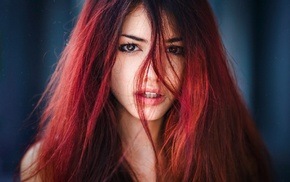 girl, open mouth, Delaia Gonzalez, depth of field, redhead, portrait