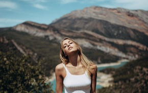 mountain, white tops, long hair, closed eyes, girl, trees