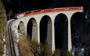 mountain, train, arch, winter, railway, Switzerland