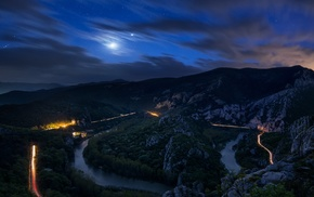 moon, road, valley, lights, long exposure, light trails