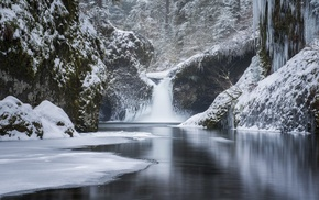 nature, river, winter, waterfall, ice, snow