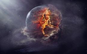 artwork, space, planet, fantasy art, explosion, space art