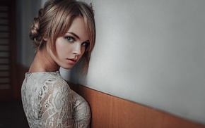 white dress, dress, Georgiy Chernyadyev, model, Anastasia Scheglova, girl