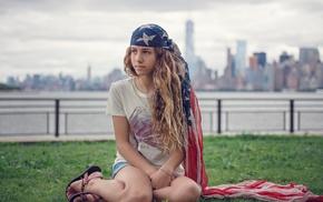 flag, girl, girl outdoors