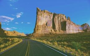 mountain, road