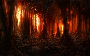 digital art, nature, trees, branch, fire, wood