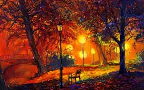 fall, artwork, park, digital art, modern impressionism, trees