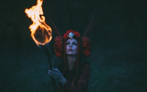 witch, costumes, girl outdoors, fire, girl