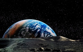 planet, horizon, landscape, Earth, moon, space