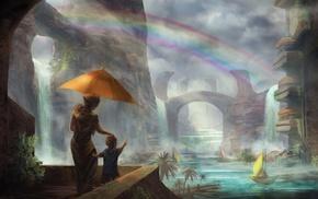 rainbows, water, fantasy art, city