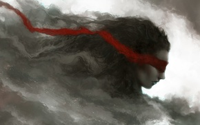 selective coloring, smoke, girl, photo manipulation, fantasy art, red ribbon