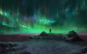 green, fantasy art, aurorae, landscape