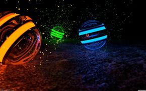 green, orange, blue, sphere, CGI
