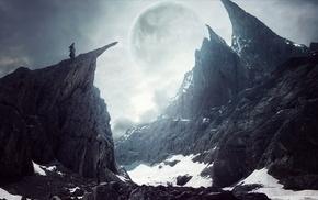 fantasy art, snow, canyon
