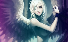 eyepatches, angel, white hair