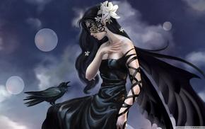 girl, wings, crow, black dress, mask
