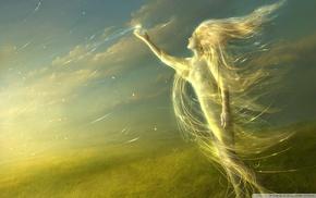 gold, wind, fantasy art