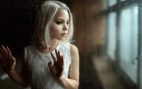 glass, white hair, girl, smoky eyes, white dress, Georgiy Chernyadyev