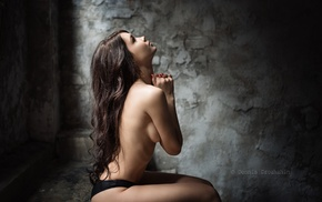 wavy hair, strategic covering, arms on chest, looking up, sideboob, praying