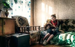 girl, cat, interiors, model