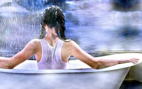 girl, wet, bathtub