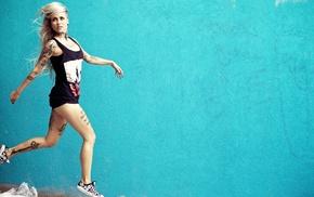 model, blonde, Sara Fabel, girl, tattoo